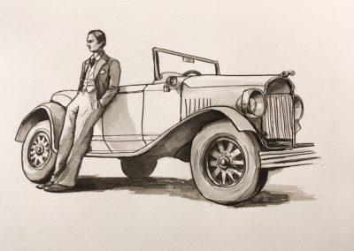 Illustration voiture ancienne encre chine
